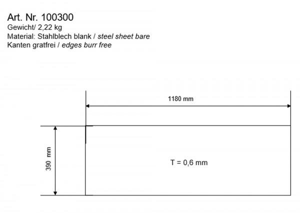 bellissa Blechzuschnitt 1180x390x0,63 mm - für bellissa Grill+Feuerstelle 95580 (Ersatzteil)