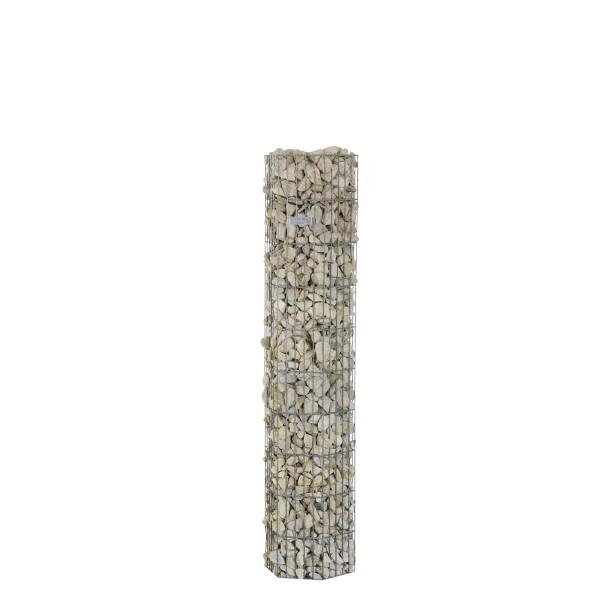 bellissa Steinsäule Gabione pronto 6-Eck 150 cm mit Pfosten 34,5x30x150 cm